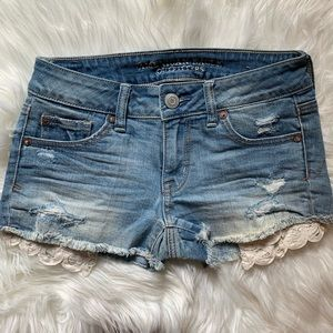 American Eagle Lace Pocket Denim Shorts